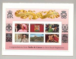 Turks & Caicos 1997 Queen Elizabeth M/S of 6 & 1v S/S Chromalin Proofs in Folder