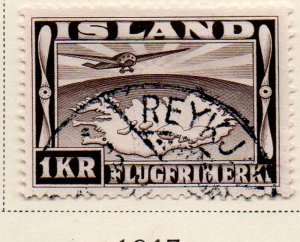 Iceland Sc C19 1934 1 kr Airplane over Map of Iceland stamp used