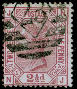 SG141, 2½d rosy mauve PLATE 14, USED. Cat £80. NJ