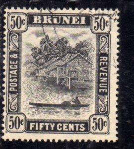 BRUNEI 1924 1937 1931 SCENE ON BRUNEI RIVER CENT. 50c USED USATO OBLITERE'