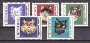Ajman, Mi cat. 318-322 A. Various Cats issue. ^