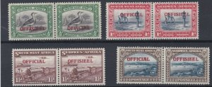 SOUTH WEST AFRICA  1945 - 50  S G 018 - 022   OFFICIAL  SET OF 4    MH  CAT £90