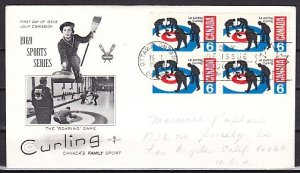 Canada, Scott cat. 490. Sport of Curling. Block of 4. First day cover. ^
