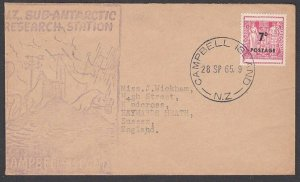 NEW ZEALAND ANTARCTIC CAMPBELL IS 1965 cover with 7d Arms opt...............P791