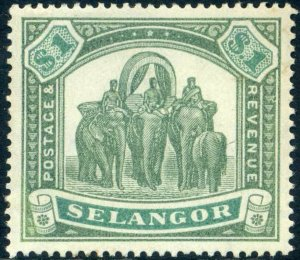 Selangor SG61 1895 One Dollar Green and Yellow Green Mounted Mint