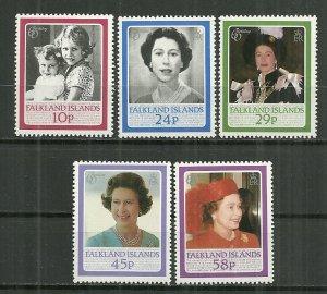 1986 Falklan Islands 441-5 Queen Elizabeth 60th Birthday C/S MNH