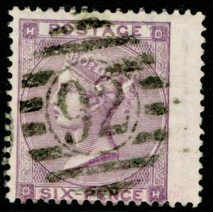SG84, 6d lilac PLATE 3, USED. Cat £100. DH