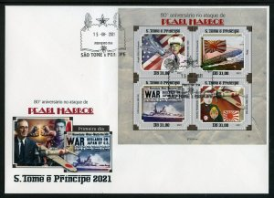 SAO TOME 2021 80th ANN PEARL HARBOR ATTACK SHEET FIRST DAY COVER