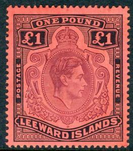 LEEWARD ISLANDS-1942 £1 Purple & Black/Carmine.  A mounted mint example Sg 114a