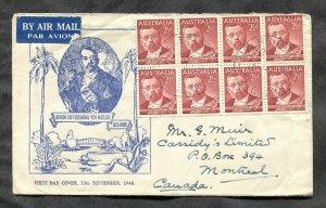 p785 - AUSTRALIA 1948 FDC Cover. Baron von Mueller.  Sent to Canada