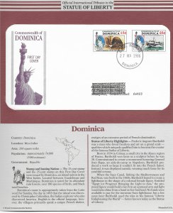Statue of Liberty Dominica #940-941. 1986 FDC with write up.