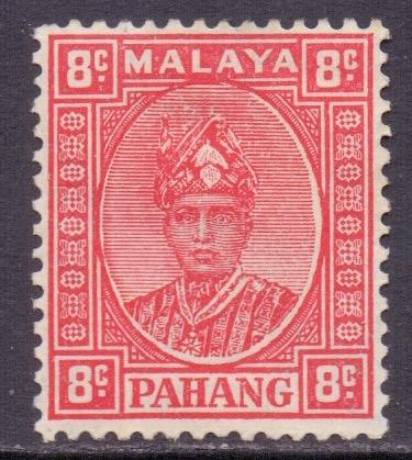 Malaya Pahang Scott 34a - SG36, 1935 Sultan 8c Red MH*