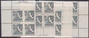 Canada - 1954 15c Gannet Plate 4 Blocks mint #343