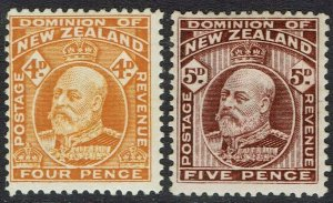 NEW ZEALAND 1909 KEVII 4D AND 5D PERF 14 X 14.5