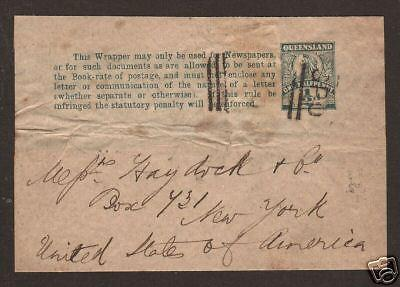 Queensland H&G E7 used 1899 1/2p green Wrapper, VF