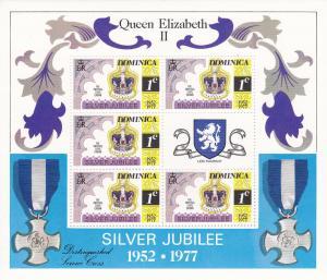Dominica # 522-525, QE Silver Jubilee, Mini Sheets, Mint NH