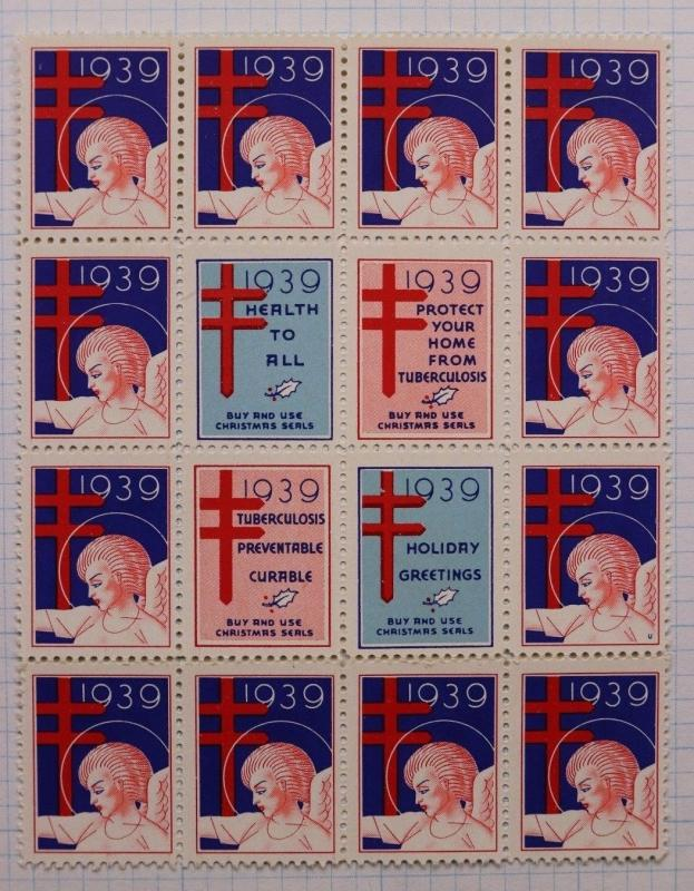 Christmas seal center Block 1939 TB slogan Buy Use Prevent cure Printer mark U