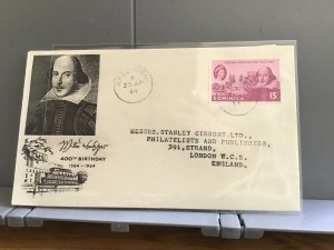 William Shakespeare   1964 Stanley Gibbons Dominica    stamp cover R29318