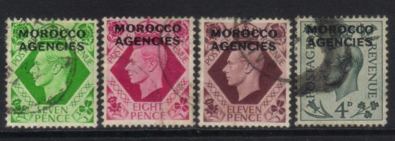 MOROCCO AGENCIES 1949 BRITISH CURRENCY 4 USED VALUES CAT £33