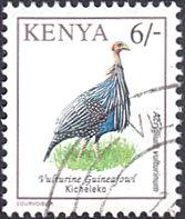 Kenya # 601A used ~ 6sh Bird - Vulturine Guineafowl