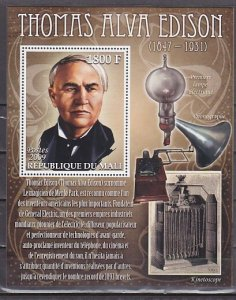 Mali, 2009 issue. Inventor Thomas Edison s/sheet. ^