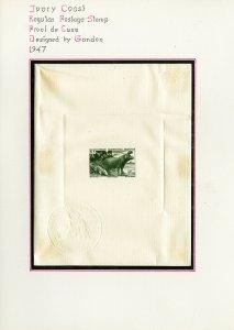 Ivory Coast 1947 Deluxe Proof Sheet Clean Hippo & Crocodile