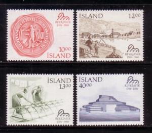 Iceland Sc628-1 1986 Reykjavik stamps mint