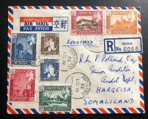 1959 Seiyun Aden Airmail Registered Cover to Hargeisa Somalia