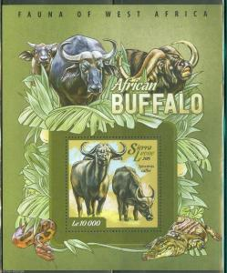 SIERRA LEONE 2015 FAUNA OF WEST AFRICA BUFFALO  SOUVENIR SHEET MINT NH