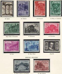 1949 Vatican Cathedrals MNH complete set of twelve Sc# 122 /130 E11 / E12a