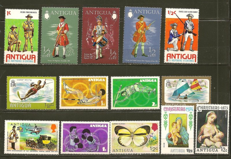 Antigua Collection of 14 Different 1970's Stamps MNH
