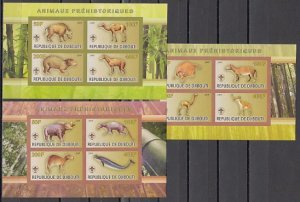 Djibouti, 2009 Cinderella issue. Prehistoric Animals. 3 IMPERF sheets of 4. ^