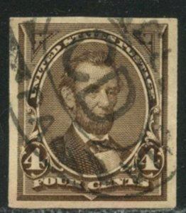 US Sc#254 1894 4c Lincoln Unwatermarked Appears Imperforate VF Used