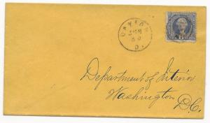 US Scott #115 Tied to Cover Circle H/S Dayton, OH June 30 Dept of Interior DC