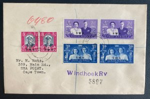 1947 Windhoek South West Africa First Day Cover To Cape Town Royal Visit