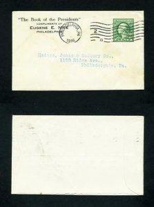 FREE SHIPPING - # 452 on cover from Eugene E Nice, Philadelphia, PA - 1916