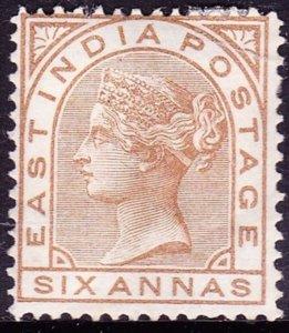 INDIA 1876 QV 6 Anna Pale Brown SG81 MH