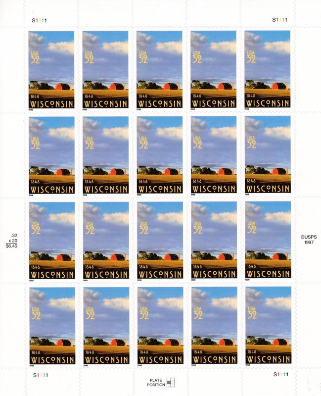 United States 1997 Wisconsin Full Sheet VF/Clean