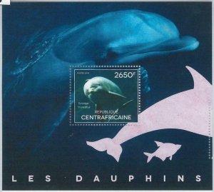 876  - CENTRAL AFRICAN R. - ERROR - MISSPERF stamp sheet 2014   DOLPHINS