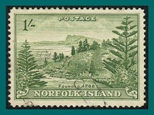 Norfolk Island 1947 Ball Bay, 1s used  #11,SG11