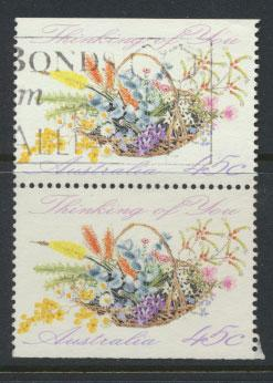 Australia SG 1318  Used pair- Greetings - Flowers top /bottom imperf