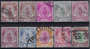 v161) Malaya - Perak. 1950/56. Used. Small Collection. Royalty. c£28+