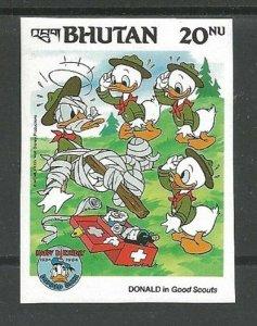 1985 Bhutan Boy Scouts Donald Duck Imperf