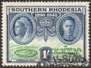 Southern Rhodesia 1940 1/- Lobengula's Kraal & Government House, Salisbury used