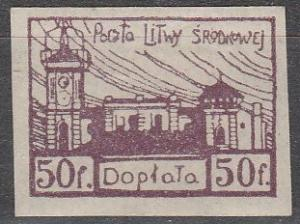 Central Lithuania #J1  Imperf  F-VF Unused   (S6489)