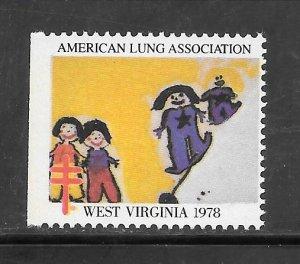 #WX1978 West Virginia Christmas Seal Z1318 MNH 10 Cent Lot