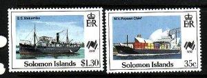 Solomon Is.-Sc#618,621-unused NH 1/2 set-Ships-1988-