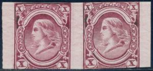 #79-E10g 10¢ PATENT ESSAY PAIR ALMOST CUT IN AT TOP & BOTTOM CV $800.00 HV6644