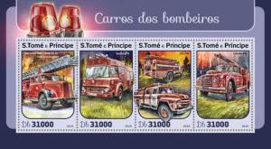 Sao Tome & Principe Fire Engines Stamps 2016 MNH Trucks Bedford TK 4v M/S