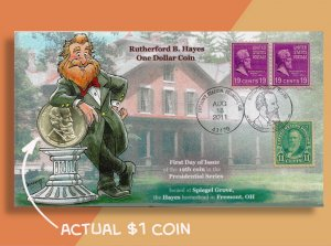 RUTHERFORD B. HAYES GETS A ONE DOLLAR COIN! Cachetoons First Day of Issue Cover